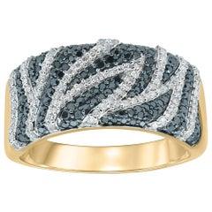 TJD Treated Black and White Diamond 14 Karat Yellow Gold Cocktail Ring