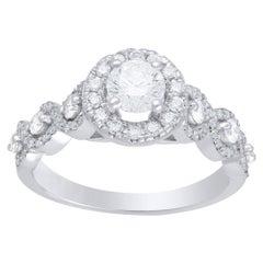 TJD 1.00 Carat Diamond 14 Karat White Gold Bridal/Engagement Halo Twist Ring