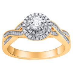 TJD  1/2 Carat Diamond 14 Karat Yellow Gold Engagement Bridal Ring