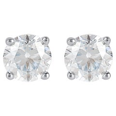 TJD 14 Karat IGI Certified Solitaire Diamond White Gold Stud Earrings