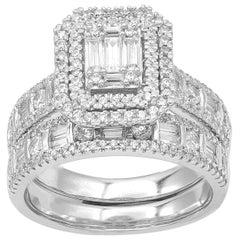 TJD 1.50 Carat Round and Baguette Diamond 14 Karat White Gold Bridal Set Ring