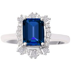 TJD 0.25 Carat Diamond & 8 X 6MM Cushion Cut Nat. Blue Sap 18K White Gold Ring