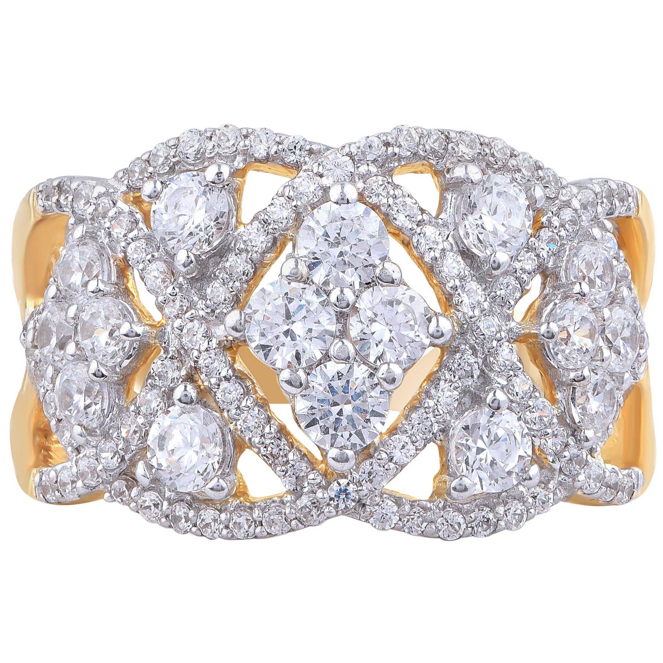 TJD 1.50 Carat Diamond 18 Karat Yellow Gold Composite Kite Design Wedding Band