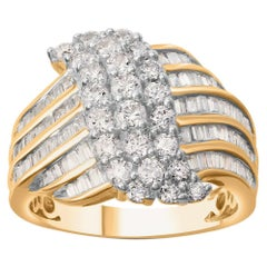 TJD 1.50 Carat Round and Baguette Diamond 18 K Yellow Gold Multi Row Wave Ring