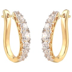 TJD 1.50 Carat Brilliant Cut Diamond 18 Karat Yellow Gold Hoop Earrings