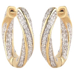 TJD 1.50 Carat Brilliant Cut Natural Diamond 18 Karat Yellow Gold Hoop Earrings