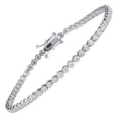 TJD 1.50 Carat Brilliant Diamond 18 Karat White Gold Tennis Bracelet