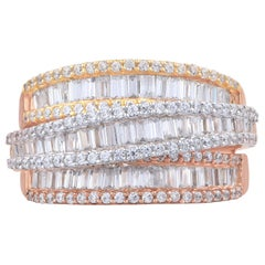TJD 1.50 Carat Round and Baguette Diamond 18 Karat Tricolor Gold Crossover Ring