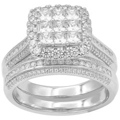 TJD 1.50 Carat Round & Princess Cut Diamond 14K White Gold Stackable Bridal Set
