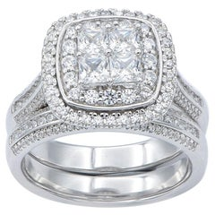 TJD 1.50 Carat Round and Princess Cut 14K White Gold Halo Stackable Bridal Set