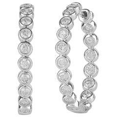 TJD 1.50 Carat Round 14K White Gold Bezel Set Inside Out Diamond Hoop Earrings
