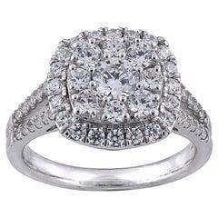 TJD 1.50 Carat Round Diamond 14 Karat White Gold Halo Engagement Bridal Ring