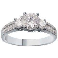 TJD 1.60 Carat Diamond 18 Karat White Gold 3-Stone Vintage Engagement Ring