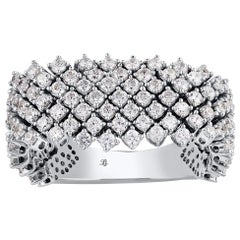 TJD 1.75 Carat Round Diamond 14 Karat White Gold Art Deco Multi Row Wedding Band