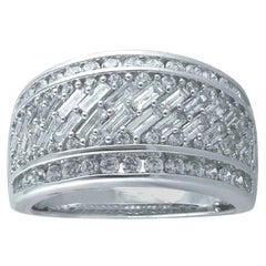 TJD 2.00 Carat Baguette and Round Brilliant 14 Karat White Gold Wide Wedding