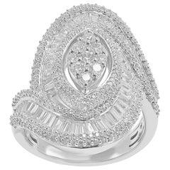 TJD 2Carat Round and Baguette Diamond 14K White Gold Inter-locked Wedding Ring