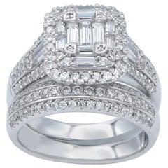 TJD 2Carat Round & Baguette Diamond 14 Karat White Gold Designer Bridal Ring Set