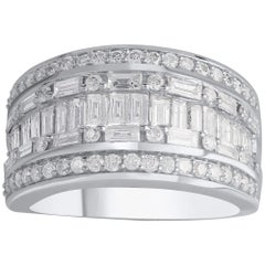 TJD 2.00 Carat Round and Baguette Diamond 10 K White Gold Multi-Row Wedding Ring
