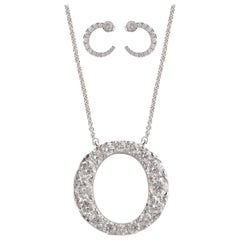 TJD 2.00 Carat Brilliant Cut 14 Karat White Gold Diamond Pendant Set