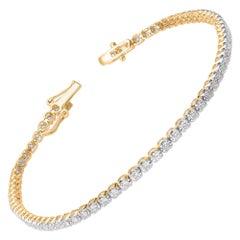 TJD 2.00 Carat Brilliant Cut Diamond 10 Karat Yellow Gold Tennis Bracelet