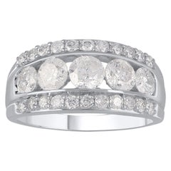 TJD 2.00 Carat Diamond 18 K White Gold Five Stone Channel Set 3-Row Wedding Ring