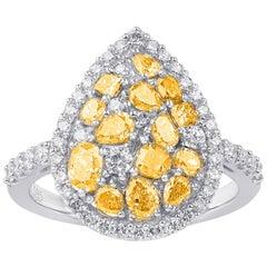 TJD 2.00 Carat Multicolor Diamond 14 Karat White Gold Pear Shape Engagement Ring