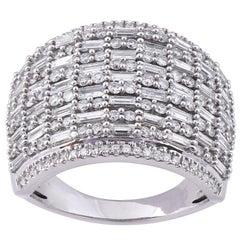 TJD 2.00 Carat Round & Baguette Diamond 14 Karat White Gold Wide Wedding Band
