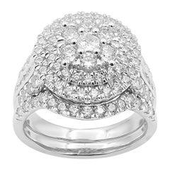 TJD 2.00 Carat Round Diamond 14K White Gold Double Halo Cluster Bridal Ring Set