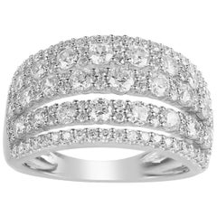 TJD 2.00 Carat Round Diamond 14 Karat White Gold Multi-row Wedding Band Ring