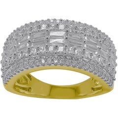 TJD 2.00 Carat Round and Baguette Diamond 14K Yellow Gold Multi-row Wedding Band