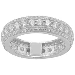 TJD 2.00 Carat Round Diamond 14 Karat White Gold 3 Row Full Eternity Band Ring