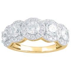 TJD 2.00 Carat Round Diamond 14 Karat Yellow Gold 5 Stone Halo Engagement Ring