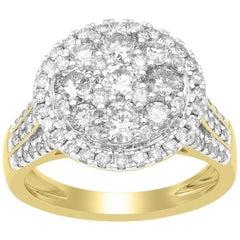 TJD 2.00 Carat Round Diamond 14 Karat Yellow Gold Composite Halo Engagement Ring