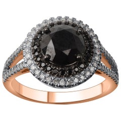 TJD 2.45 Carat White and Treated Black Diamond 14 K Rose Gold Split Shank Ring
