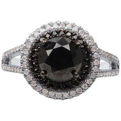 TJD 2.45 Carat White and Treated Black Diamond 14 K White Gold Split Shank Ring