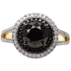 TJD 2.45 Carat White and Treated Black Diamond 14 K Yellow Gold Split Shank Ring