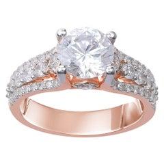 TJD 2.50 Carat Brilliant Cut 18 Karat Rose Gold Diamond Engagement Ring