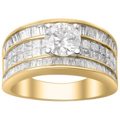 TJD 2.50 CT Round,Princess and Baguette Diamond 18 K Yellow Gold Multi Row Ring