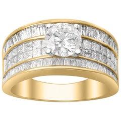 TJD 2.50 Carat Brilliant Cut Diamond 18 Karat Yellow Gold Engagement Ring