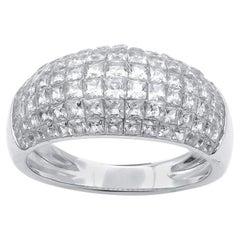 TJD 2.50 Carat Princess Cut Diamond 14 Karat White Gold Dome Shape Band