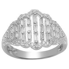 TJD 3/4 Carat Round & Baguette Diamond 14 Karat White Gold Fashion Designer Ring