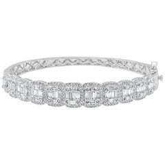 TJD 3.00 Carat Round and Baguette Diamond 14 K White Gold Cushion Shape Bangle