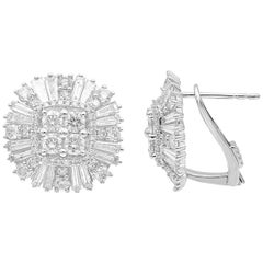 TJD 3Carat Round and Baguette Diamond 14K White Gold Cushion Shape Stud Earrings