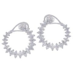 TJD 3.00 Carat Diamond 18 Karat White Gold Twisted Designer Hoop Earrings