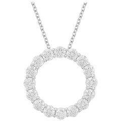 TJD 3.00 Carat Round Diamond 18K White Gold Classic Open Circle Diamond Pendant