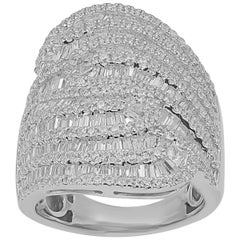 TJD 3Carat Round and Baguette Diamond 14 Karat White Gold twisted Wedding Band