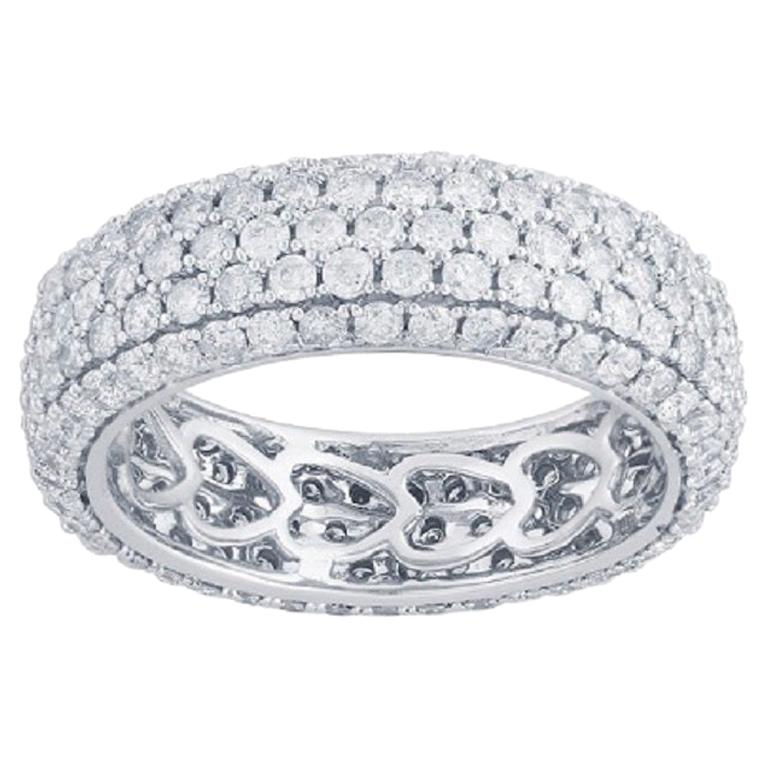 TJD 3.00 Carat Round Diamond 14 Karat White Gold Full Eternity Wedding Ring