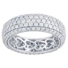 TJD 3.00 Carat Round Diamond 14 Karat White Gold Full Eternity Wedding Ring
