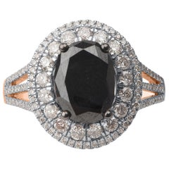 TJD 3 1/2 Carat White and Treated Black Diamond 14 Karat Rose Gold Oval Ring