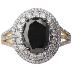 TJD 3 1/2 Carat White and Treated Black Diamond 14 Karat Yellow Gold Oval Ring